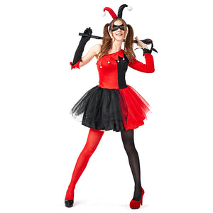 Adult Women Harley Quinn Cosplay Costumes Clown Costume Halloween Carnival Fantasias Fancy Dress - OLAOLA