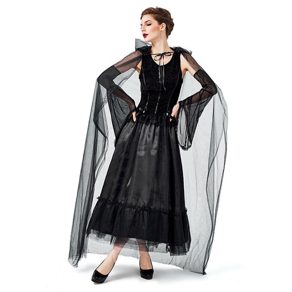 Women Halloween Black Gothic Witch Costume Carnival Fantasia Witch Cosplay Game Role Party Funny Dress - OLAOLA