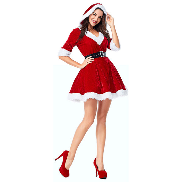 Women Santa Claus Costume Sexy Santa Costume Mrs Claus Costume Santa Suit Christmas Fancy Dress Costume - OLAOLA