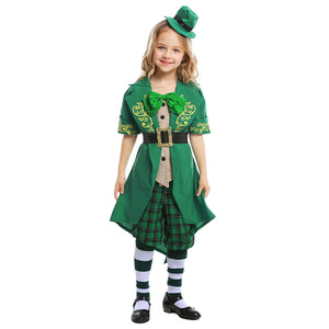 Kids Girls St Patrick's Day Leprechaun Costume Irish Exotic Outfit Green Elf Costume Irish Carnival Costume - OLAOLA