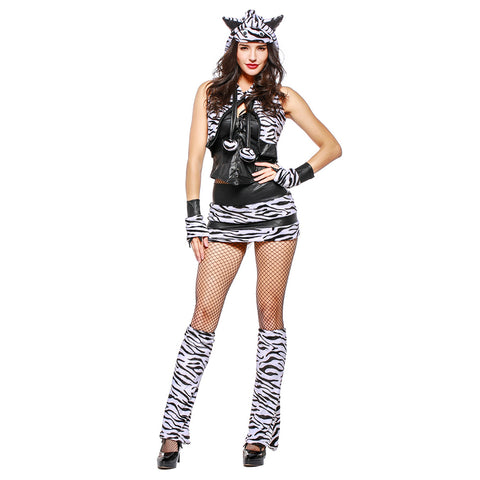 Women Halloween White Tiger Costume Top Skirt Vest Set with Tail Ear Adult Animal Cosplay Costumes - OLAOLA