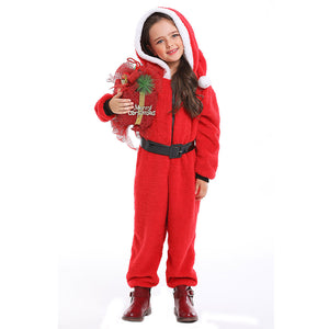 Kids Santa Claus Costume Winter Warm Pajamas Fluffy Fleece Jumpsuits Christmas Elf Cosplay Pajamas Costume - OLAOLA