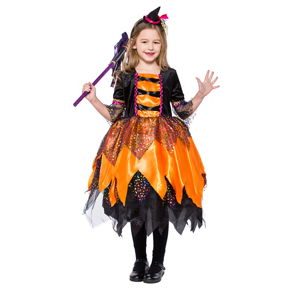 Kids Girls Party Children Witch Cosplay Costume Halloween Costume Party Witch Dress with Hat - OLAOLA