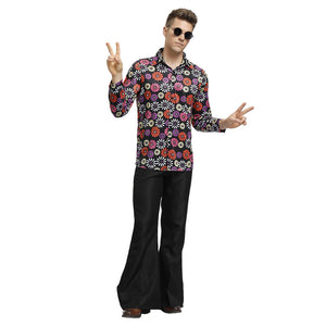 Adult Men 90s Retro Floral Costume Halloween Cosplay Hip Hop Costume Disco Outfit Retro Bell Bottom Trousers - OLAOLA