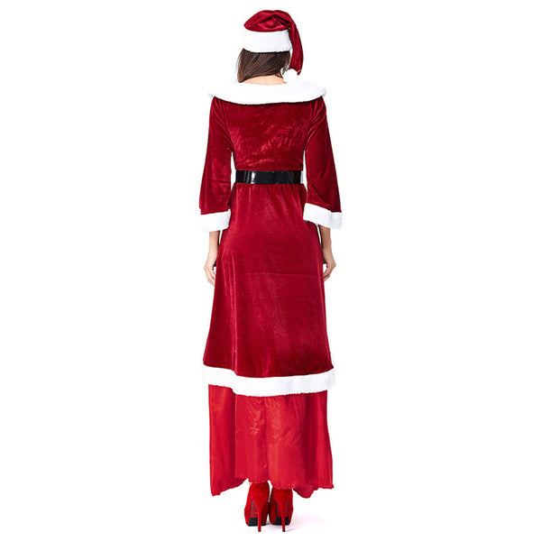 Women Santa Claus Costume Adult Christmas Clothes Full Set Cosplay Deluxe Santa Red Dress Suit - OLAOLA