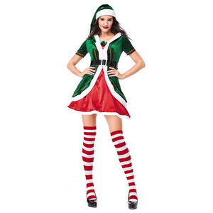 Women Classic Red Green Merry Christmas Uniforms Festive Elf Couples Costume Santa's Helper Costumes Clothes - OLAOLA