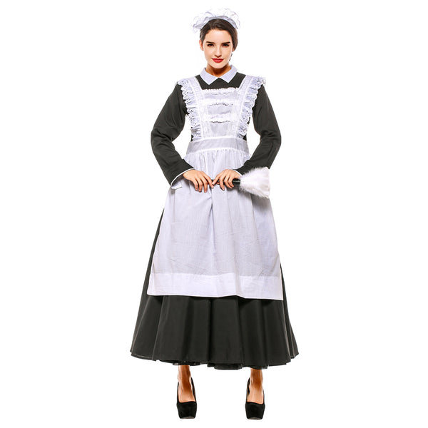 Plus Size Women Classic Black White Apron Maid Dress Halloween Maidservant Costume Purim Cosplay Costume - OLAOLA