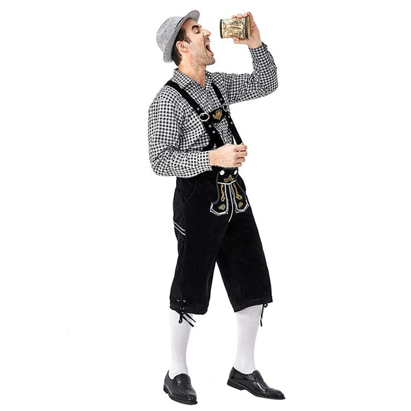 Men German Bavarian Oktoberfest Costume Set for Halloween Dress Up Party and Beer Festival - OLAOLA