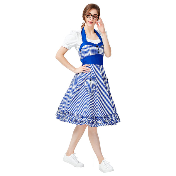 Women German Beer Girl Costume Bavarian Octoberfest Costume Uniforms Oktoberfest Dirndl Maid Cosplay Fancy Dress - OLAOLA