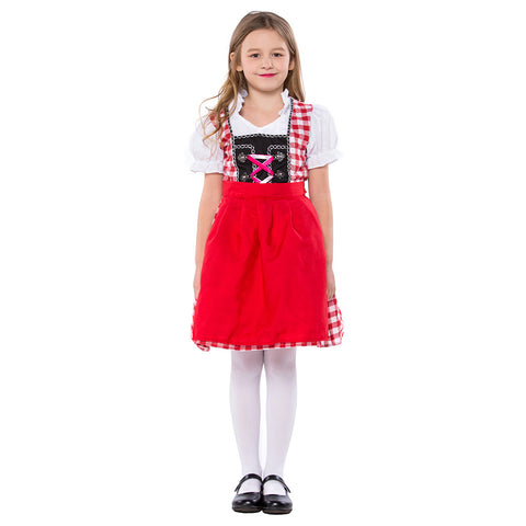 Kids Oktoberfest Uniform Beer Girl Fantasia Cospaly Party Dress Children Girls Performance Costumes - OLAOLA