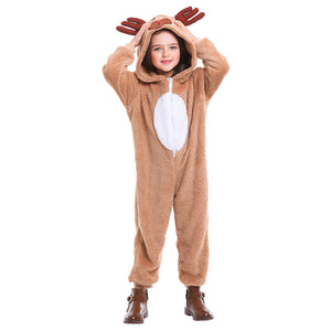 Kids Halloween Deer Costume Fawn Cosplay Winter Animal Pajamas Christmas Carnival Purim Party Dress - OLAOLA
