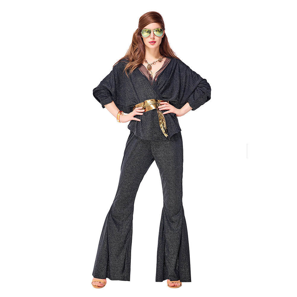Adult Women Vintage 70s Disco Costume Dazzler Diva Dress Bell Bottoms Groovy Party Outfit Halloween Costume - OLAOLA