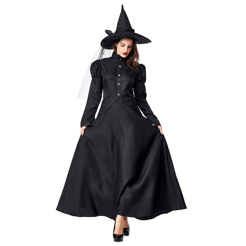 Women Halloween Wicked Witch Costume Spooky Witch Fancy Dress Black Long Sleeves Cosplay Outfit - OLAOLA