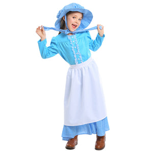 Kids Girls Halloween Blue Soft Dress British Pioneer Girl Dress Colonial Pioneers Girls Costumes - OLAOLA