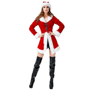 Women Red Christmas Jacket Velvet Coat Costume Miss Santa Claus Outfit Happy New Year Party Fancy Dress - OLAOLA