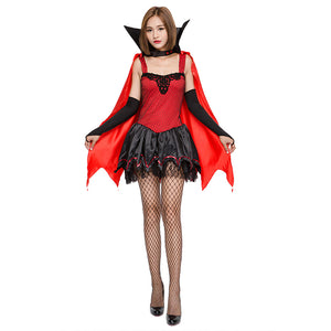 Women Red Black Sexy Vampire Costume Halloween Party Fantasia Vampire Dracula Cosplay Fancy Dress