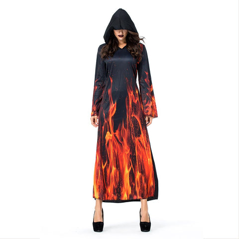 Women Hell Flame Ghost Vampire Witch Hooded Dress Costumes Halloween Ball Party Cosplay Costume - OLAOLA
