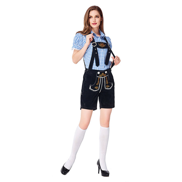 Women Traditional Germany Oktoberfest Beer Girl Costume Halloween Bavarian Lederhosen Stage Performance Clothing - OLAOLA