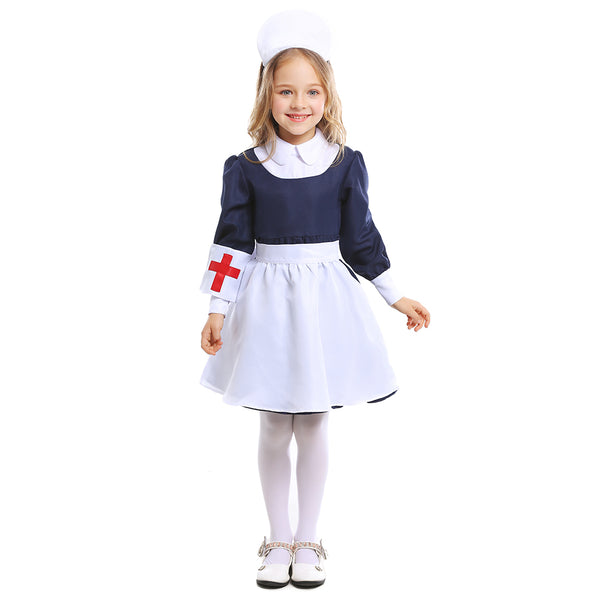Kids Girls Nurse Doctor Uniform Cosplay Costume Halloween Costume Carnival Party Suit Clothing - OLAOLA
