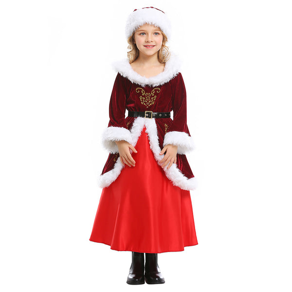 Kids Girls Deluxe Santa Claus Costume Cosplay Kriss Kringle Christmas Costume Santa Claus Dress Suit Clothes - OLAOLA