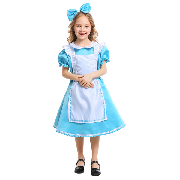 Kids Girls Alice in Wonderland Alice Costume Blue Princess Maid Cosplay Halloween Purim Mardi Gras Party Dress - OLAOLA