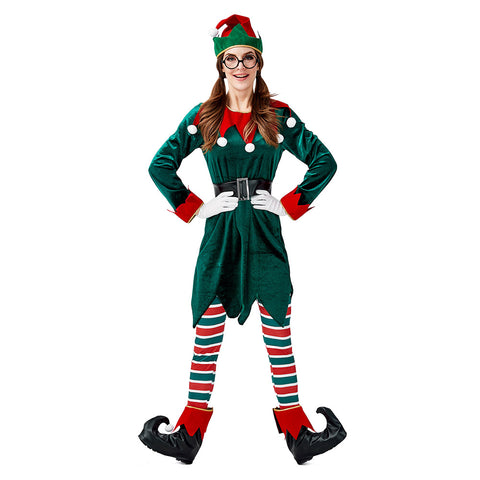 Women Christmas Green Elf Costume Suit Adult Santa Claus Green Dresses Sexy Elf Cosplay Christmas Costume - OLAOLA