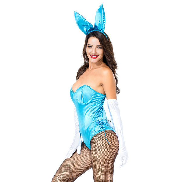 Women Halloween Blue Color Strapless Bra Playboy Bunny One-Piece Dress Two-Tone Black Sexy Rabbit Dress - OLAOLA