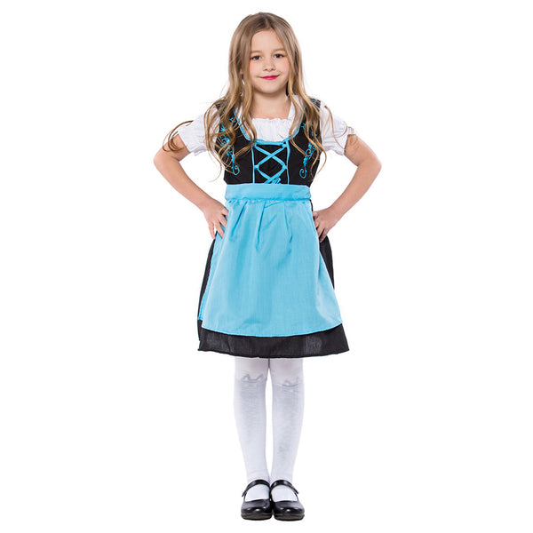 Kids Girls German Dirndl Traditional Beer Girl Costume Bavarian Oktoberfest Costume Waitress Serving Maid Outfit - OLAOLA