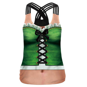 Women Tops Sexy Ladies Tank Top Vest St. Patrick's Day Cosplay Female Cross Sling Halter Sleeve Casual Clothes