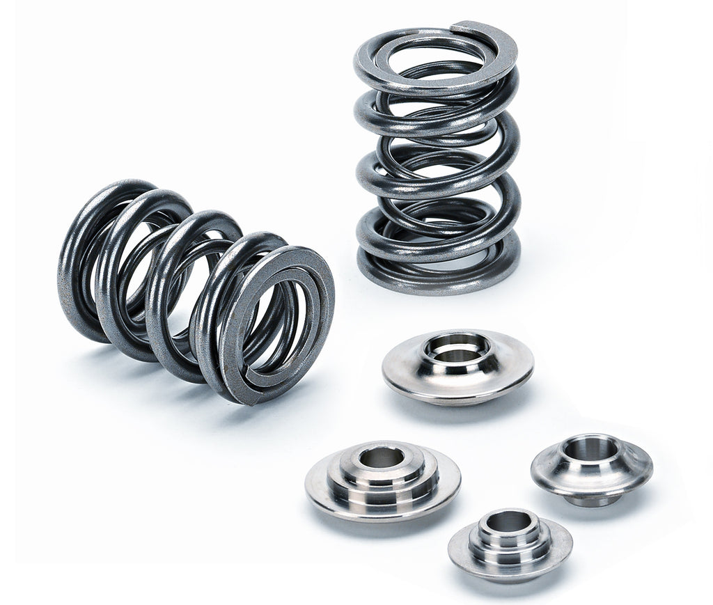 "Supertech Performance SPR-TS1015/EC Dual valve spring 27.50/20/15.20mm, CB:20.7 mm/ 78lbs@34.6mm(1.362"") / Rate: 307 lbs/in.  Chrome Silicon."