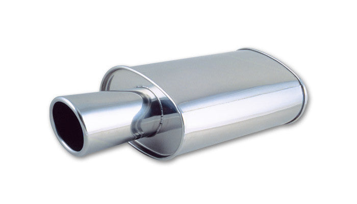"Vibrant STREETPOWER Oval Muffler w/ 4"" Round Angle Cut Tip (2.5"" inlet)"