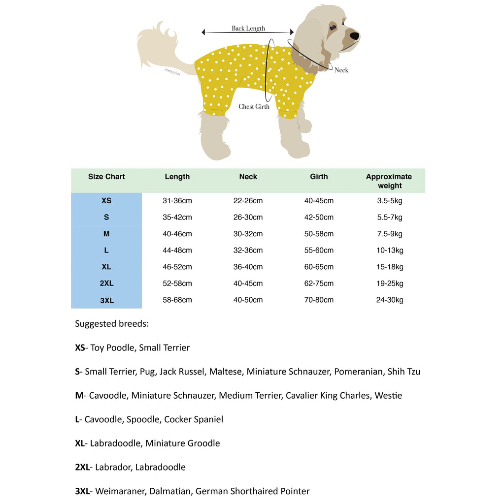 size guide for dog sweaters and onesies
