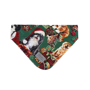 Christmas Bandana- Merry Woofmas- Green.