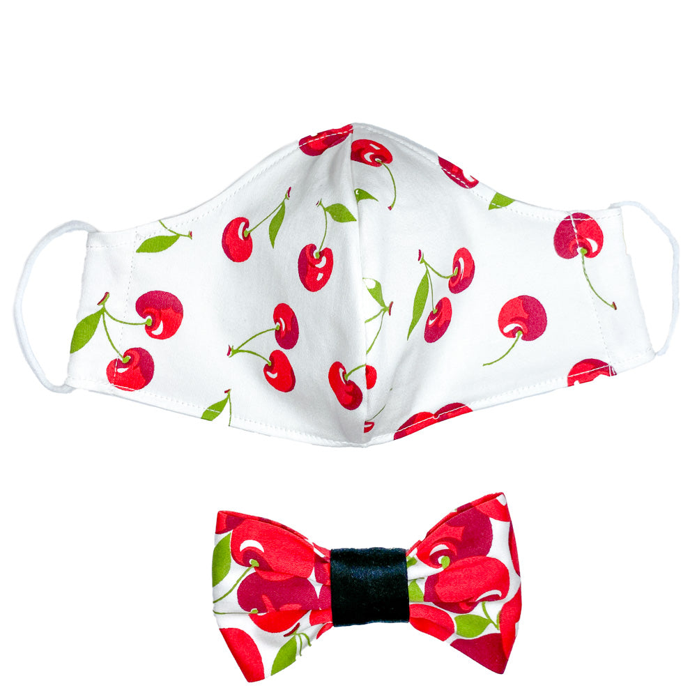 Handmade for Hounds Cherry Print Face Mask and Bowtie