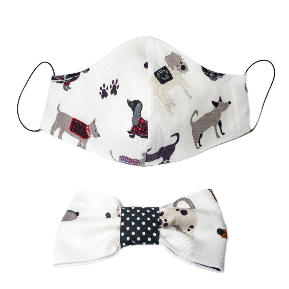 Handmade for Hounds white doggo face mask and bowtie