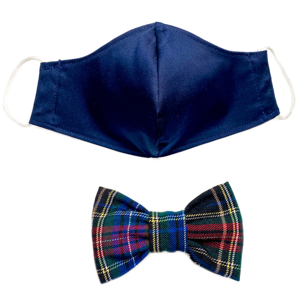 Matchy Matchy Navy Tartan Face Mask and Bowtie