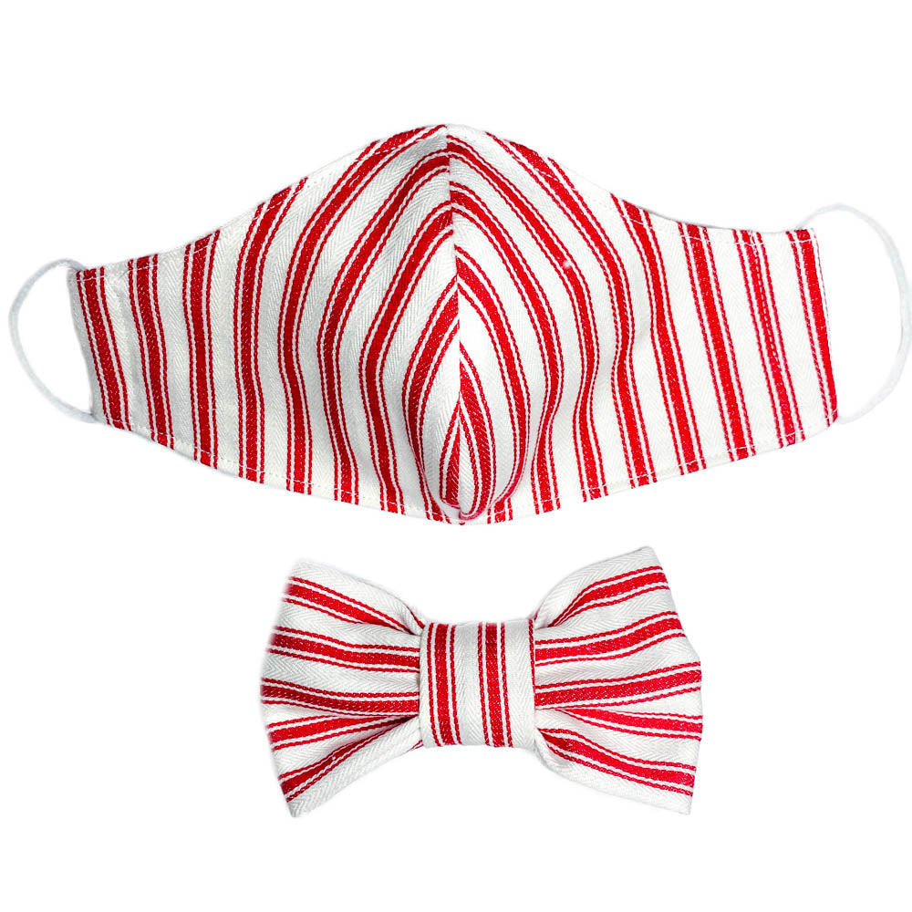 Handmade for Hounds Red Stripe Face Mask and Bowtie