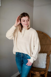 Sweet Cream Knitted Button Down Sweater