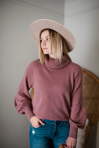 Dusty Mauve Ribbed Knit Turtleneck Sweater