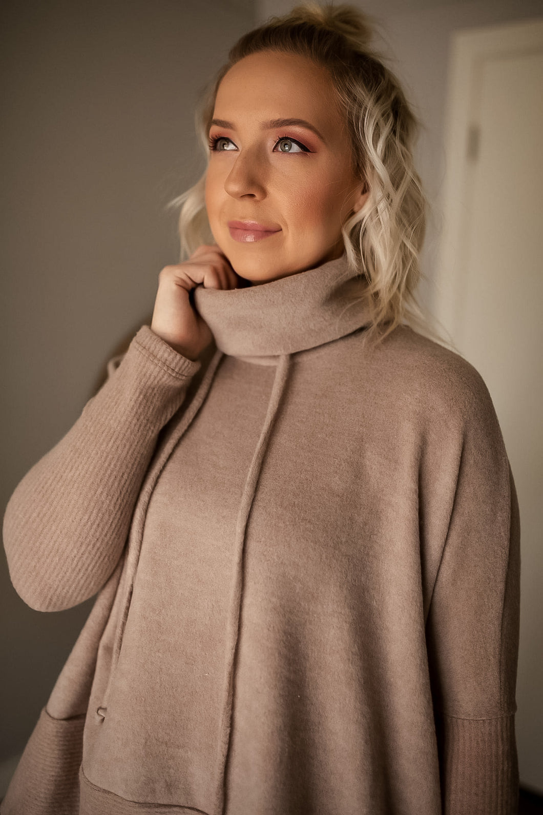 Nixie Drawstring Cowl Turtleneck Top
