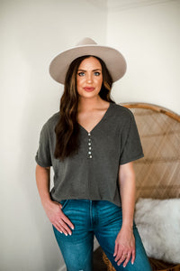 High Road Raw Edge Henley Top