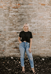 Layla Crew Neck Twisted Knot Crop Top