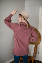Load image into Gallery viewer, Dusty Mauve Ribbed Knit Turtleneck Sweater