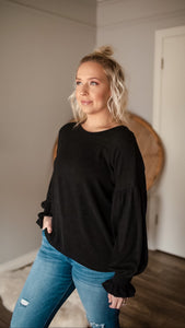 What a Feeling Black Ruffle Top