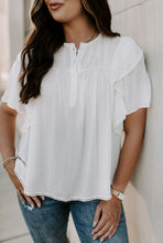 Load image into Gallery viewer, Isla Embroidered Ruffle Short Sleeve Top