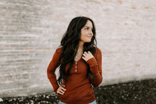 Load image into Gallery viewer, Marsala Long Sleeve Henley Top