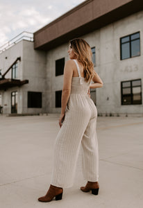 Quinn Striped Button Strap Jumpsuit