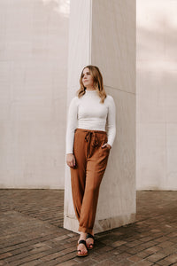 Cameron High Waisted Front Tie Textured Pants