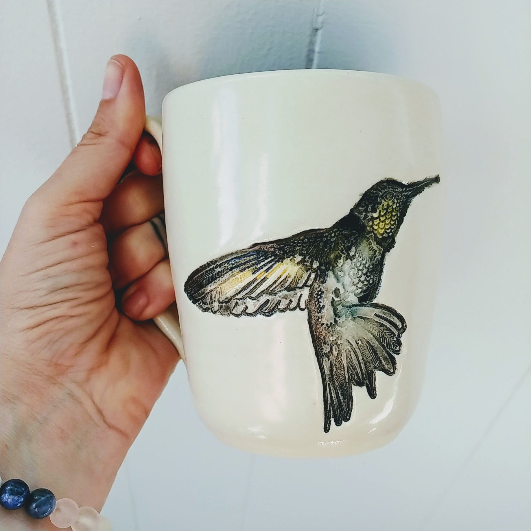 Hummingbird mug pottery for peace