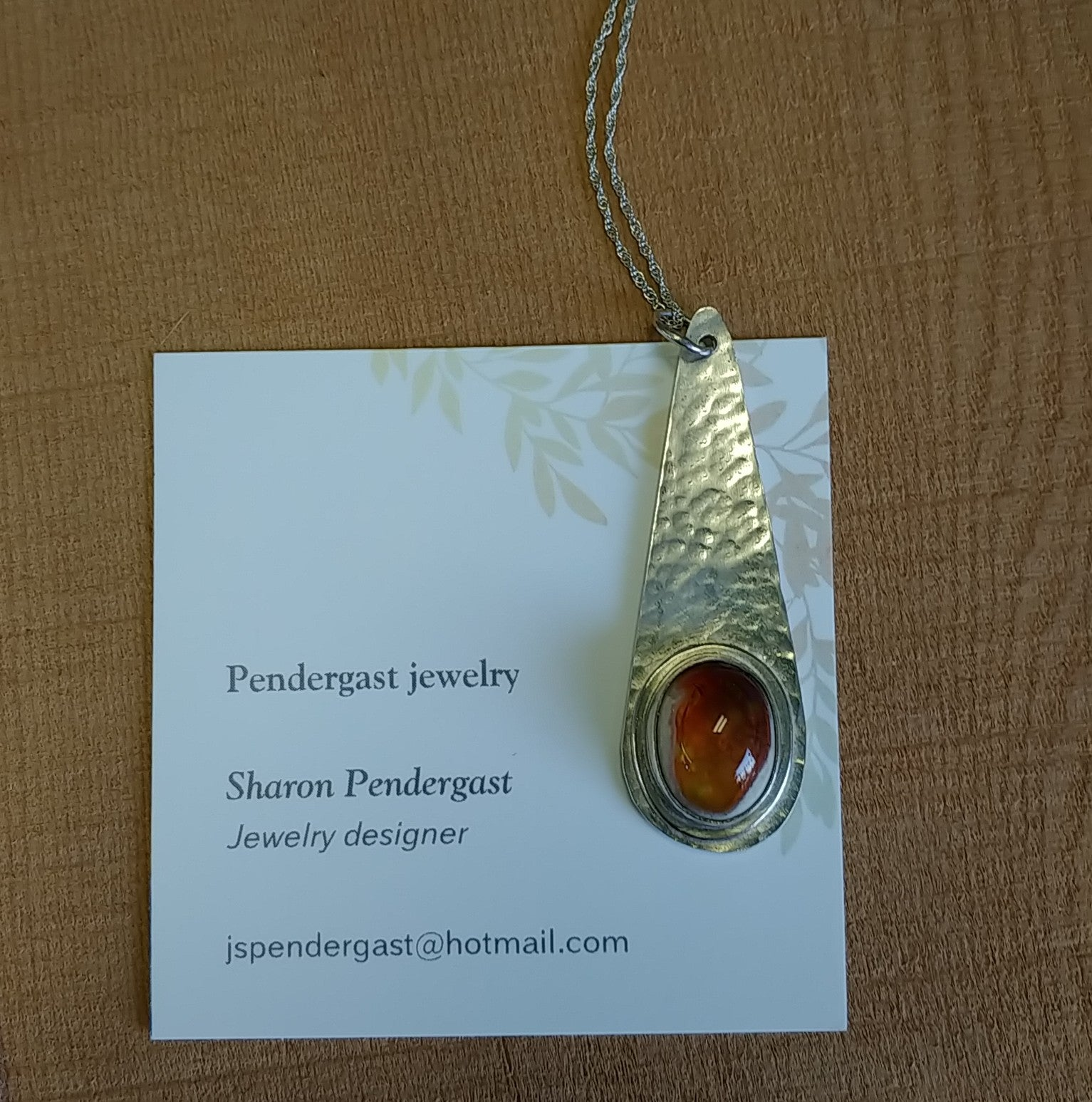 Pendergast jewelry sterlijg and fire opal necklace